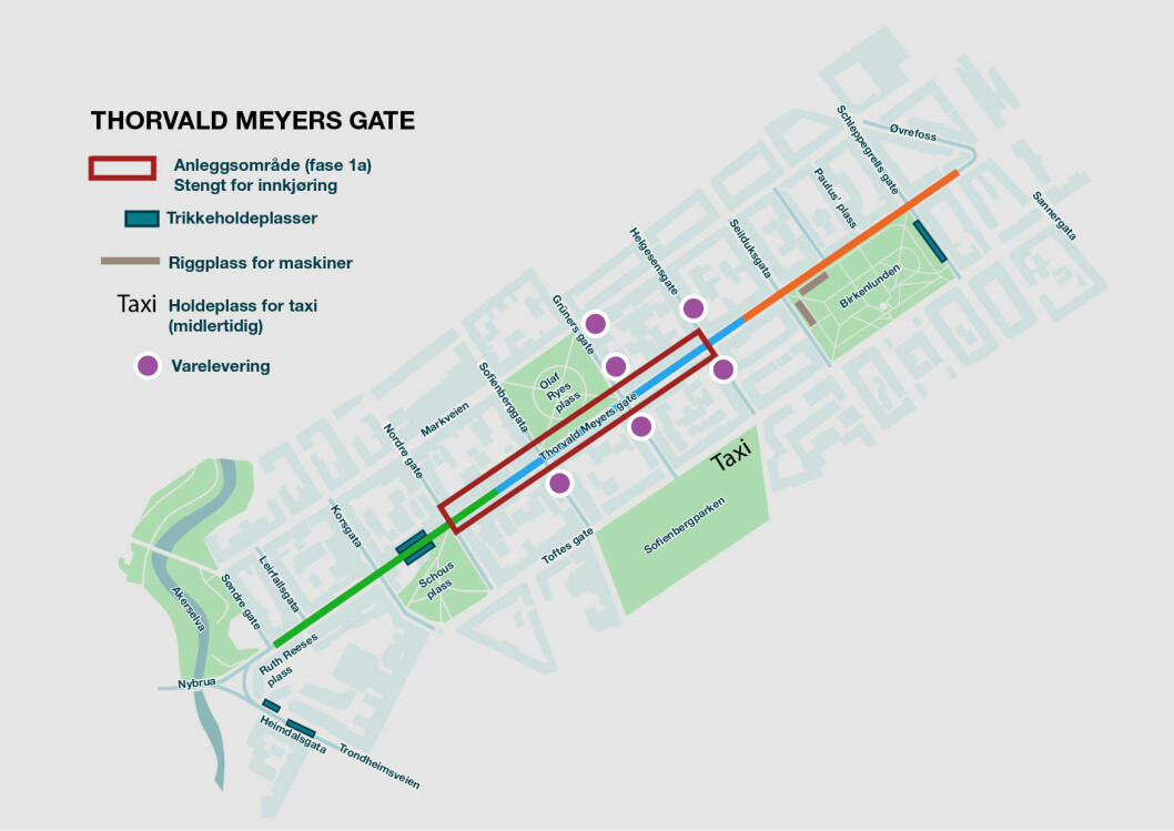 Kartet viser strekningen der arbeider vil pågå og Thorvald Meyers gate blir stengt. Illustrasjon: Bymiljøetaten