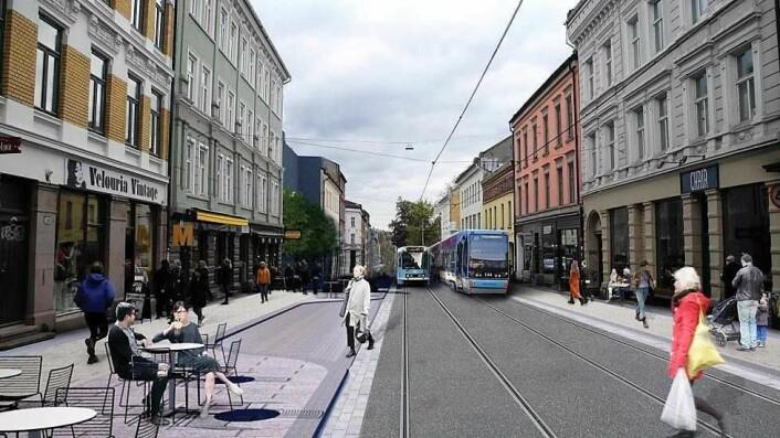 Den midterste delen av Thorvald Meyers gate skal oppgraderes først. Her blir det bredere fortauer og soner som tilrettelegger for uteservering. Illustrasjon: Bymiljøetaten