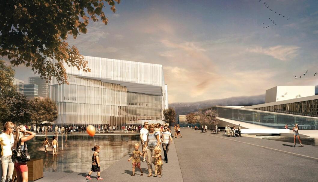 Nye Deichman i Bjørvika med Kirsten Flagstads plass og Operan til høyre. Illustrasjon: Lund Hagen arkitekter og Atelier Oslo