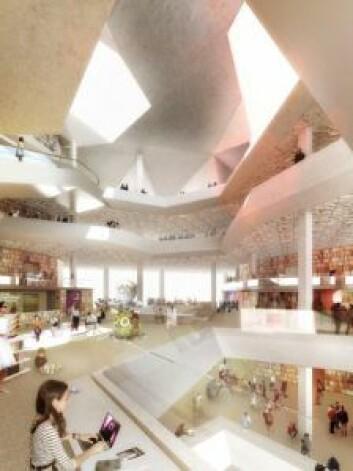 Slik ser man for seg Oslos nye hovedbibliotekt når det står ferdig. Illustrasjon: Lund Hagen arkitekter og Atelier Oslo