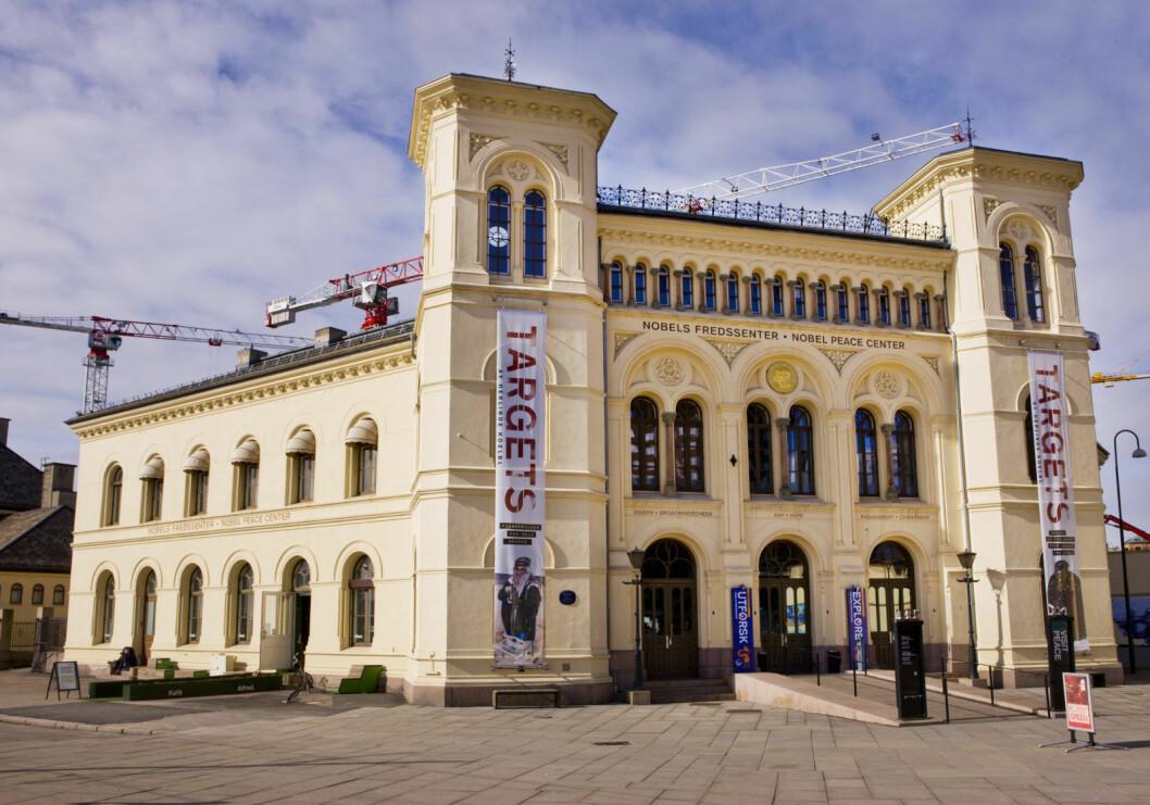 Nobels Fredssenter holder hus i Vestbanehallen som ble oppført i 1872 og var stasjonsbygning for tog vest- og sørover fra Oslo helt frem til 1989. Foto: Thomas Brun / NTB scanpix