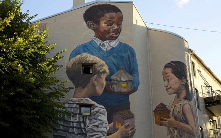 Veggmaleriet på Tøyen skole. Foto: Merethe Ruud