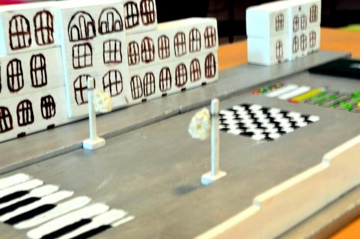 Detalj fra elevenes modell av den nye skolegården på Gamlebyen skole. Foto: Kay Asbjørn Schjørlien