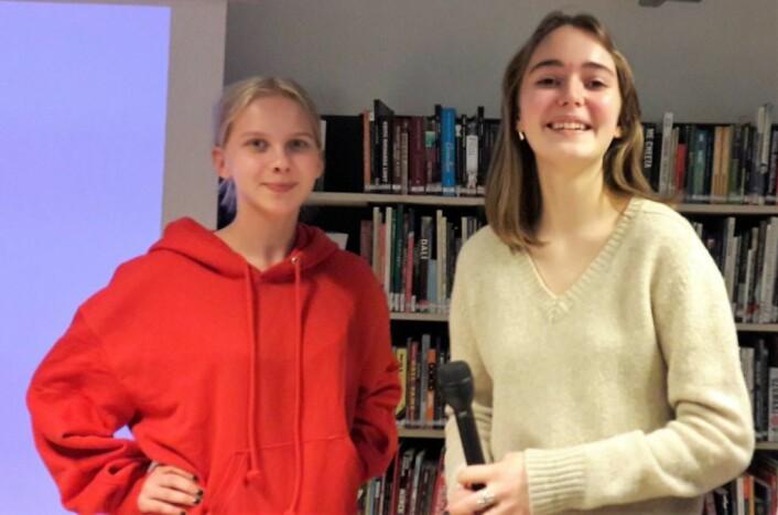 Leah Kristoffersen Larsen og Julia Sørgaard startet elevlaget, og senere firmaet Rent hav, ren framtid. Foto: Anders Høilund