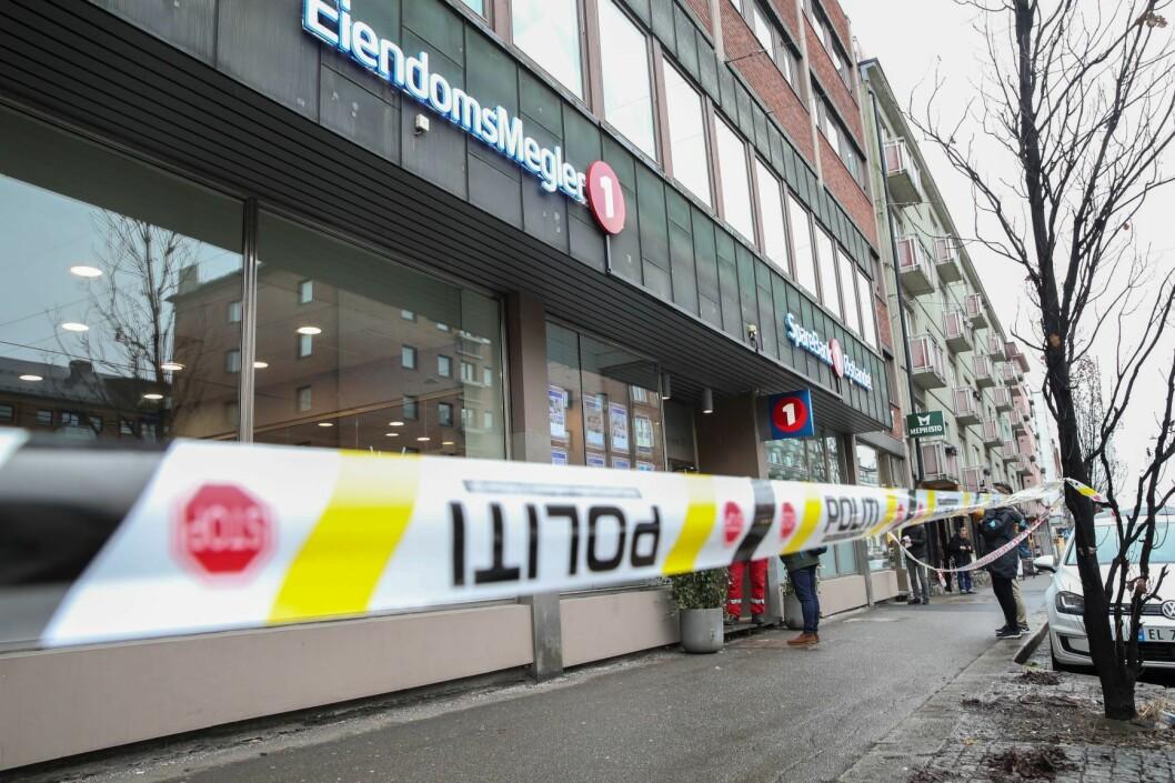 En raner slo mandag formiddag til mot en bank i Majorstuveien i Oslo. Den antatte gjerningsmannen, som er i 50-årene, er pågrepet. Foto: Vidar Ruud / NTB scanpix
