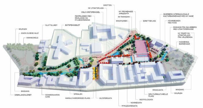 Slik ser arkitektene for seg at skulpturparken på Klosterenga vil se ut når den er ferdig. Illustrasjon: Dronninga Landskap