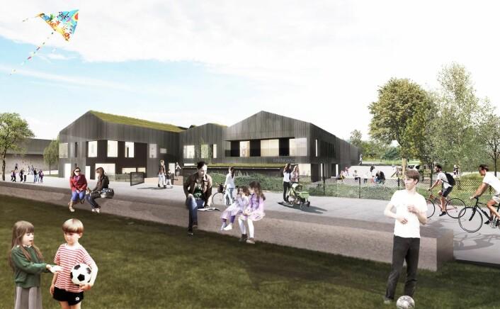 Grorud flerbrukshus får en barnehage med seks avdelinger. Barnehagen vil gå over to etasjer, får heis og intern forbindelse til flerbrukshallen. Illustrasjon: Link arkitektur