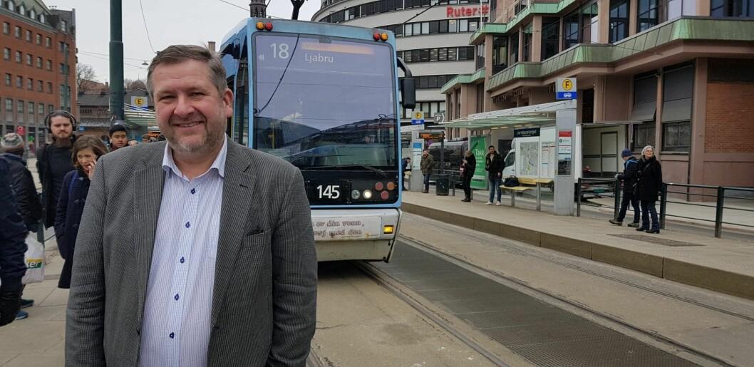 Direktør i Ruter, Bernt Reitan Jenssen, er stolt av den kraftige veksten i antallet passasjerer i kollektivtrafikken i Oslo. Foto: Christian Boger
