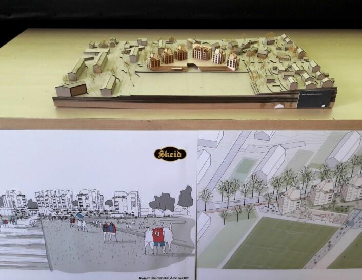 Modellen gir et inntrykk av hvordan det kan bli seende ut på Nordre Åsen hvis kommunen går inn for å la Skeid bygge ny arena med boliger og butikklokaler. Foto: Anders Høilund