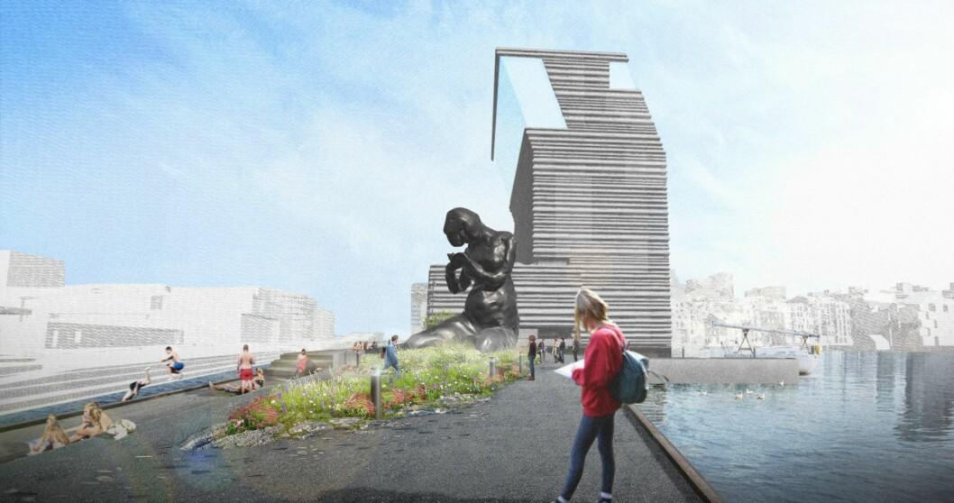 Slik vil statuen The Mother se ut, ved siden av Munchmuseet. Illustrasjon: J & L GIBBONS