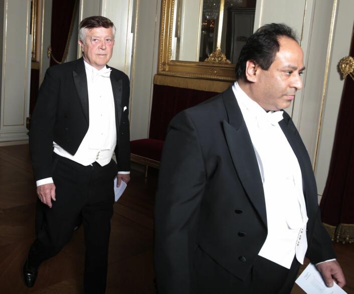 Som mangeårig Høyre-politiker og leder av 14. augustkomitéen er Aamir Javed Sheikh å se i mange ulike sammenhenger. Her foran Jens P. Heyerdahl på vei inn til en gallamiddag på Slottet. 14. august er nasjonaldagen til Pakistan. Foto: Lise Åserud / NTB scanpix