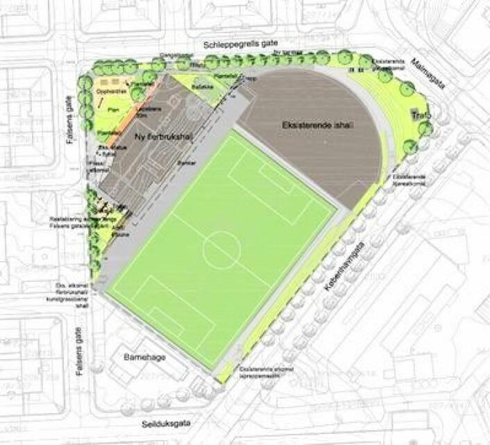 En enkel tegning av det idrettsanlegget slik det vil se ut inkludert den nye flerbrukshallen. Illustrasjon: Bymiljøetaten