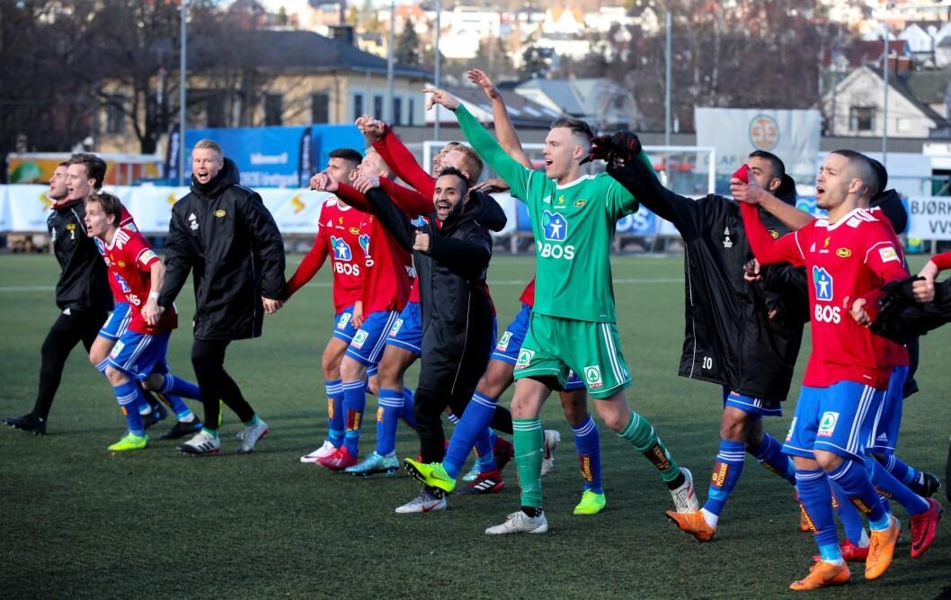 Idar Nordby Lysgård og Skeid jubler etter kampen mellom Skeid og HamKam. Foto: Vidar Ruud / NTB scanpix