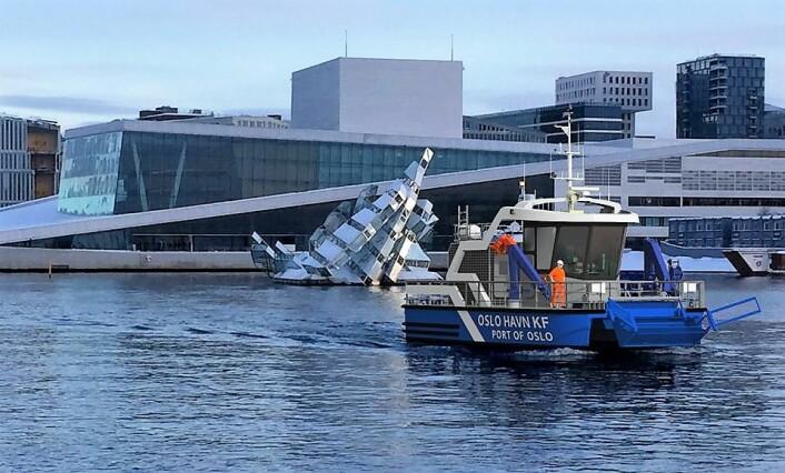 Oslo får nullslipps havnebåt. Oslo Havn skal bygge en av verdens mest miljøvennlige miljøbåter. Illustrasjon: Gøran Bolsøy