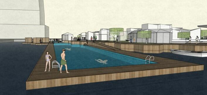 Det flytende oppvarmede bassenget ved sukkerbiten. Illustrasjon: Zeuthen & Stjern