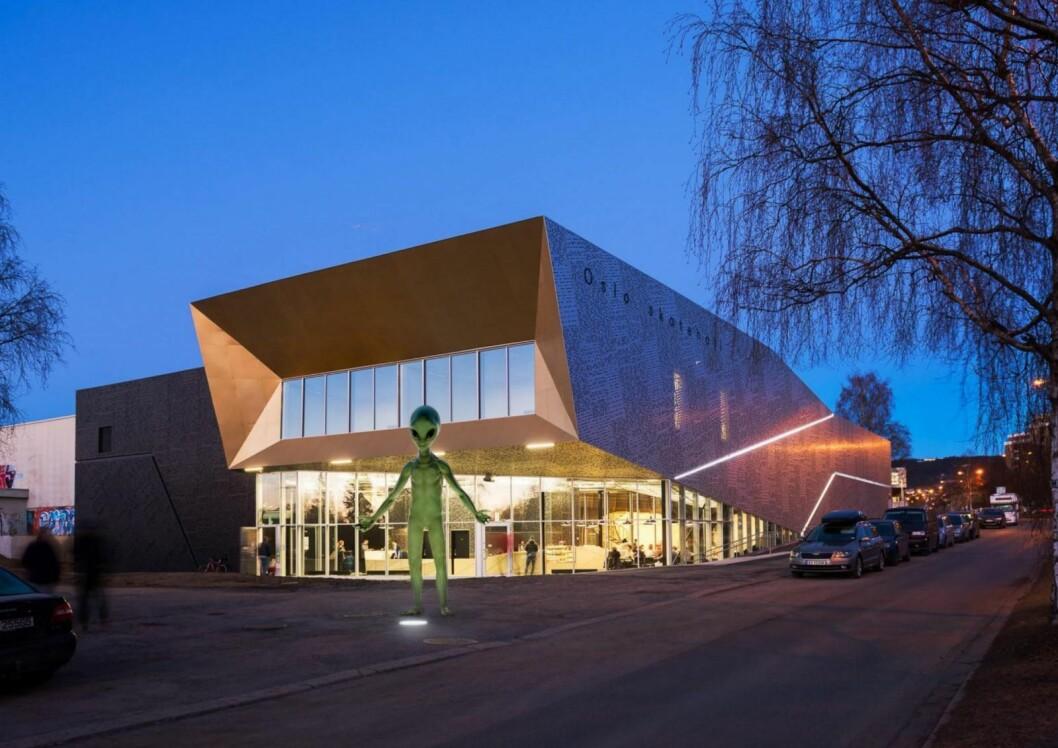 Romvesen foran Oslo skatehall på Voldsløkka. Illustrasjon: Stav & Skjelbreia / Oslo kommune