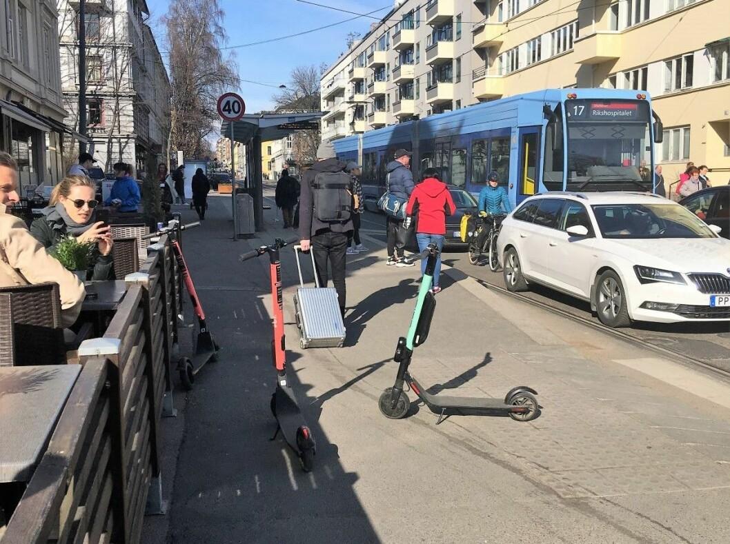 Sparkesykler ligger slengt rundt omkring i hele byen. Og flere skal det bli. Foto: Elisabeth Fragaat
