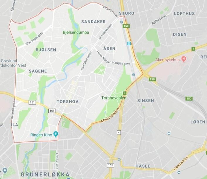 Bydelen, som tidligere het Sagene/Torshov, er Oslos minste og deles gjerne opp i Bjølsen, Sandaker, Torshov og Iladalen. Skjermdump fra Google maps