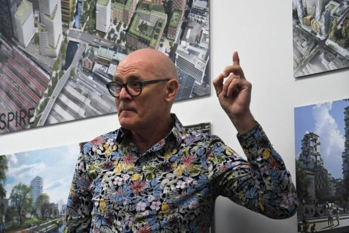 Arkitekt Øystein Grønning lover at framtiden til dagens Galleri Oslo vil være avklart innen 1. juli. Foto: Christian Boger