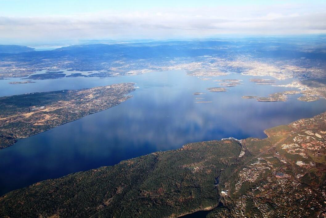 Bunnefjorden i 2010. Utstikkeren til venstre er Nesodden og rett frem i distansen skimtes Oslo og de populære bade- og hytteøyene (blant annet Hovedøya, Gressholmen og Langøyene). Oksygenkonsentrasjonen i Bunnefjorden har ikke vært så høy som nå på seks år. Flyfoto: Chell Hill
