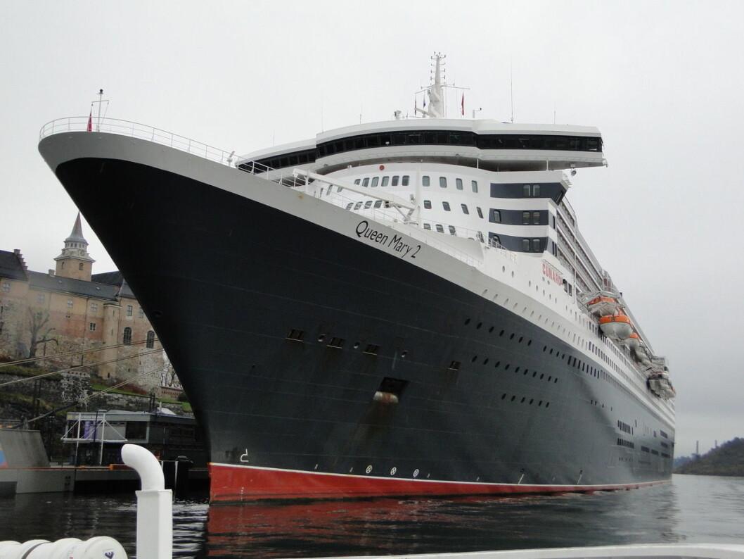 En gigant på Oslobesøk, Queen Mary 2 ved Akershusstranda. Foto: Erik Ødemark