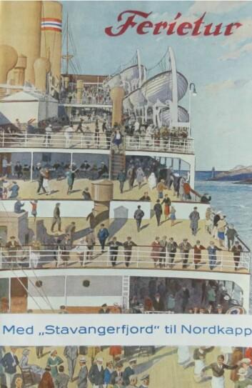 MS Stavangerfjord-brosjyre fra Den norske Amerikalinje, Nordkapptur fra Oslo med lugarpriser fra 250 til 690 kroner. 13-dagers tur med anløp av 19 byer og fjorder. Faksimile: NAL