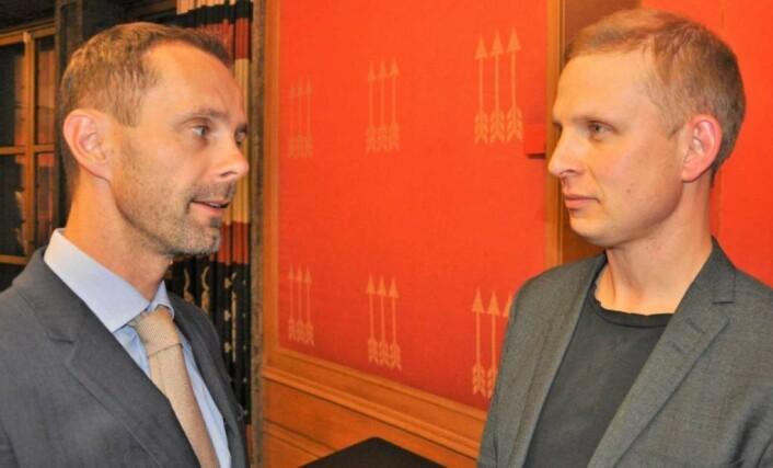 � Prosessen rundt ansettelsen vil helt sikkert skape debatt, og byrådet må tåle kritiske spørsmål, sier KrFs Erik Lunde (til høyre) og får støtte fra Venstres Hallstein Bjercke. Foto: Arnsten Linstad