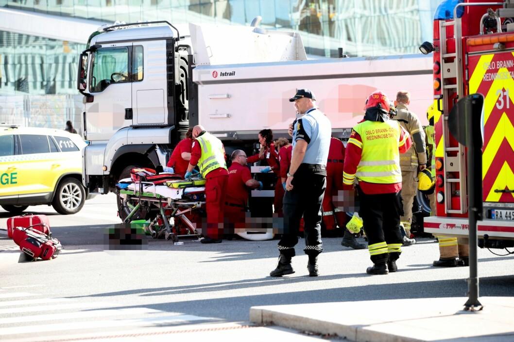 En 38 år gammel kvinne mistet livet da hun ble påkjørt av en lastebil rett utenfor Operaen i Oslo 13. september i fjor. Foto: Håkon Mosvold Larsen / NTB scanpix