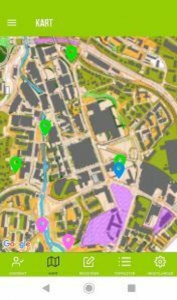 — Slik ser kartet ut på en smarttelefon. De rosa stolpene har jeg allerede registrert. Langs Akerselva er det mange fine plasser, sier Øivind Due Trier. Skjermdump: Øivind Due Trier