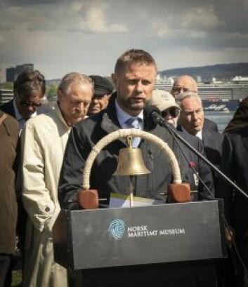 Helseminister Bent Høie hedret de falne. Foto: Beate Kjørslevik/ Norsk Maritimt Museum