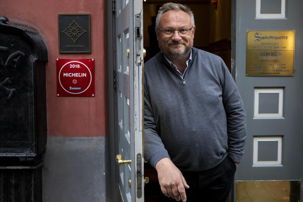 Bent Stiansen fotografert på hans restaurant Statholdergaarden i Rådhusgata 11 i sentrum i oktober 2018. Foto: Tore Meek / NTB scanpix