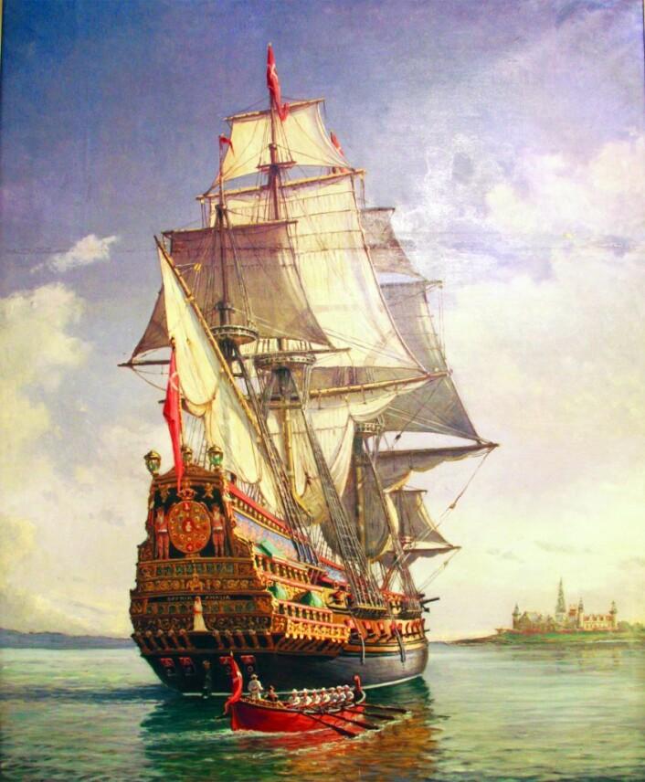 Orlogsskipet Sophia Amalia ble bygget og sjøsatt på Hovedøya i 1650, og var et av samtidens kraftigste krigsskip. De rike utskjæringsarbeidene ble dekorert av malermester Villum Hornboldt fra København. Maleri: Av Paul Sinding/eier Marinemuseet Horten