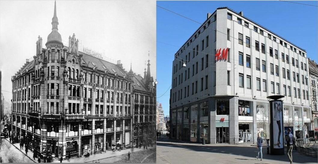 Til venstre er Hasselgården med sin opprinnelige fasade fra 1902. Til høyre slik bygget har sett ut fra rundt 1970 og frem til i dag. Nå skal Hasselgårdens fasade nyrestaureres tilbake til fordums prakt. Fotomontasje med bilder fra: L. Szacinski / Oslo museum, 1908 og Chris Nyborg / Lokalhistoriewiki