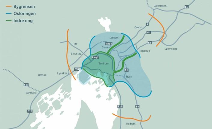 Fra og med 1. juni får Oslo i praksis tre bomringer. Nå må også elbiler betale for passering. Illustrasjon: Statens vegvesen