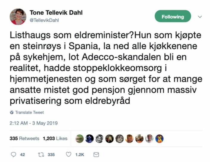 Skjermdump fra Tone Tellevik Dahls Twitter-konto