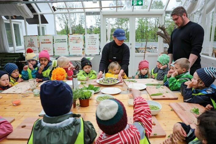 Barnehagebarna får smake på erter. Foto: Birgitta Eva Hollander - Heia Folk