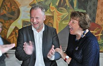 Marianne Borgen og Raymond Johansen jubler for atomvåpenforbud i Oslo