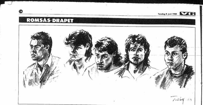 """Romsås-drapet i 1988 var et sjokk for mange. Et medlem av gjengen Young Guns mishandlet og knivdrepte et medlem av gjengen """"Killers"""". Faksimile fra VG"""