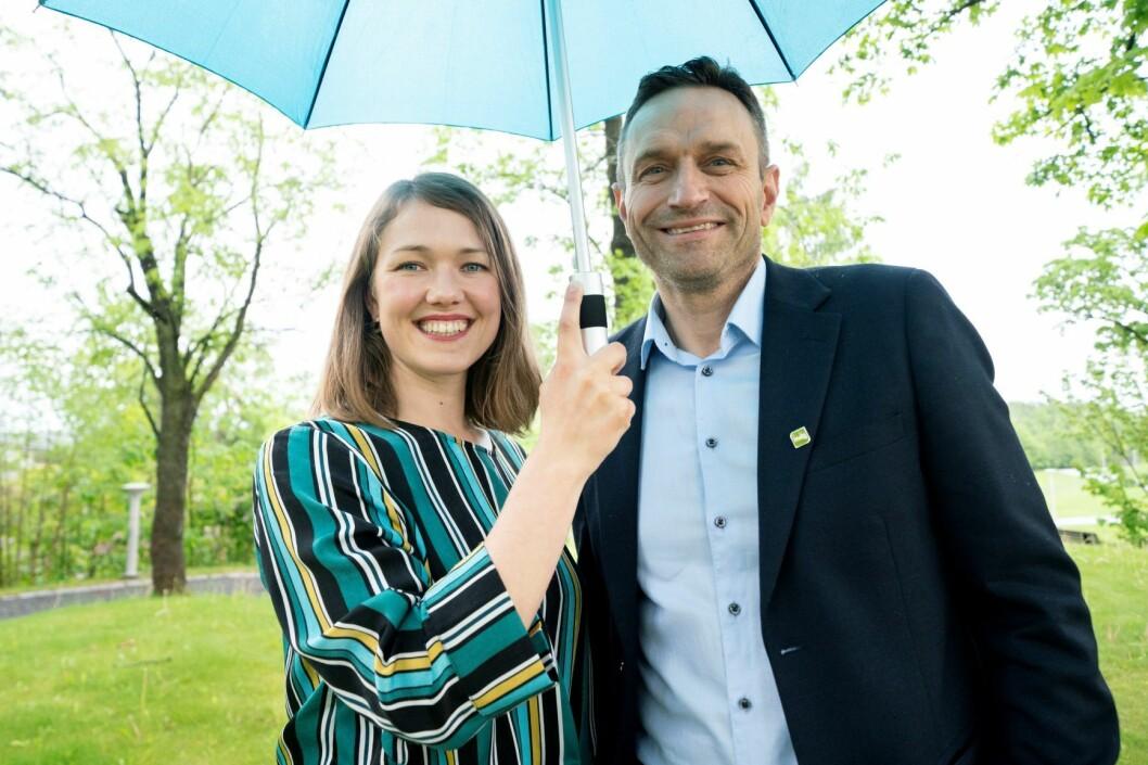 Nasjonale talspersoner Une Bastholm og Arild Hermstad under Miljøpartiet De Grønne sitt landsmøte på Fornebu fredag. Foto: Fredrik Hagen / NTB scanpix
