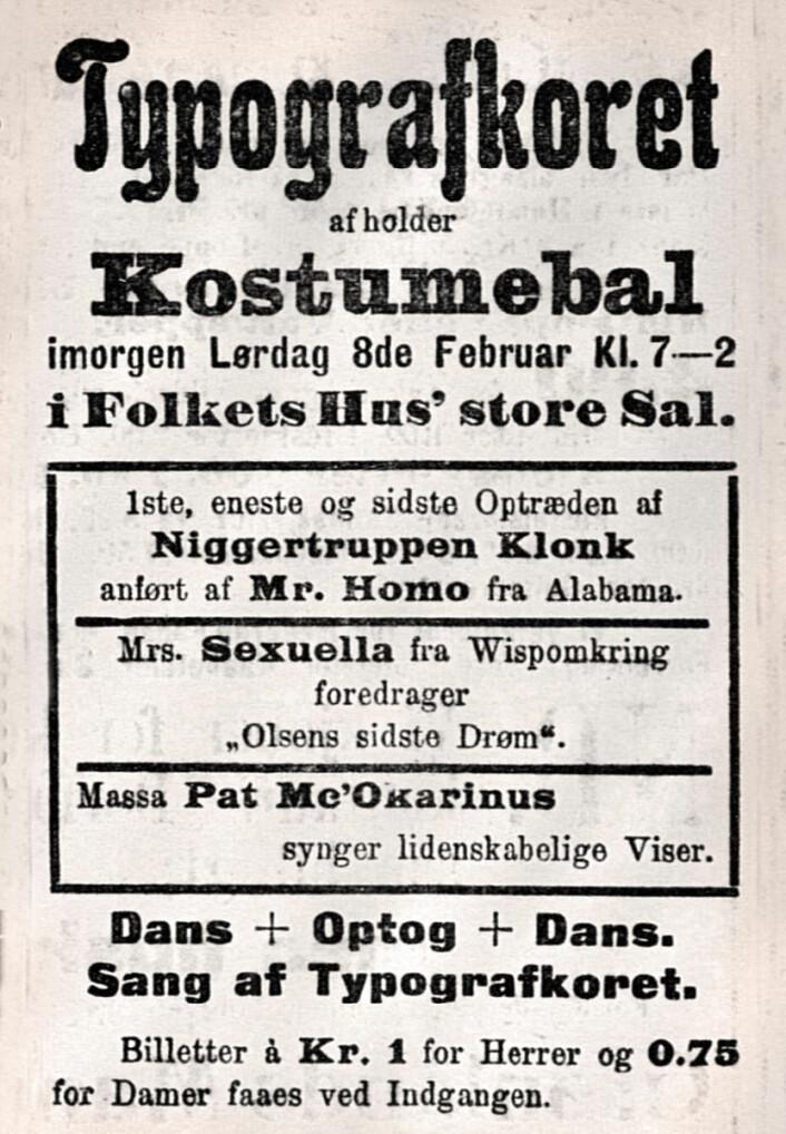 Hele annonsen fra 1908.