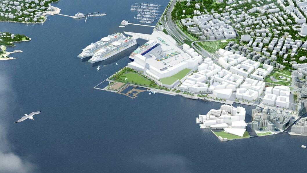 Slik så Plan- og bygningsetaten for seg Filipstad i 2013. Tjuvholmen ligger i forkant til høyre. Illustrasjon: Diiz for Plan og bygningsetaten