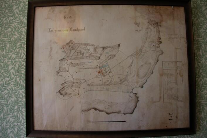 Kart over eiendommen til Ladegaardsøens hovedgård, altså kongsgården på Bygdøy. Foto: Hans Magnus Borge