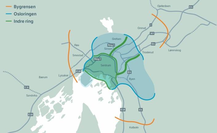 Slik er de tre bomringene lokalisert i og rundt Oslo. Kart: Oslopakke 3-sekretariatet
