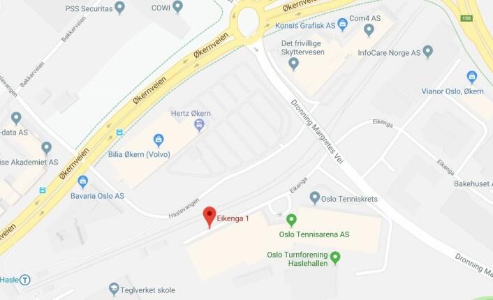 På Eikenga 1, i Grunerløkka bydel, vil Bryn brannstasjon ligge i fire år fra årsskifte. Kart: Google maps