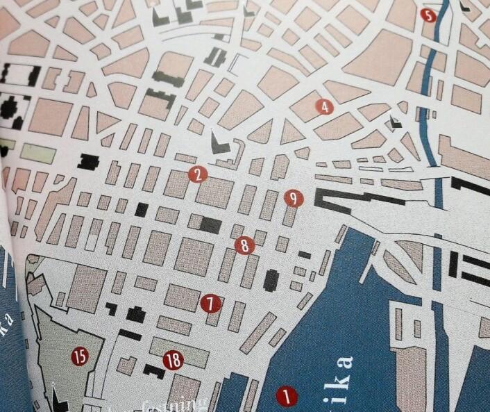 Et utsnitt av et av steigans kart. Dette viser bemerkelsesverdige mord i byen mellom år 1500 og 1940. Mordet på krovert Christensen er markert med tallet 4. Faksimile fra boka Oslo. Byens historier fortalt gjennom 53 kart av Geir T. Steigan