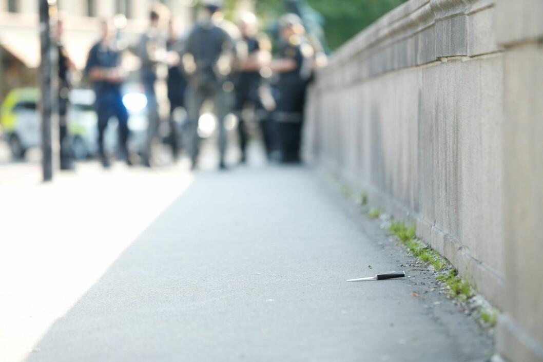 Kniven som skal ha blitt brukt under knivstikkingen. Foto: Stian Lysberg Solum / NTB scanpix