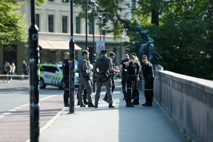 En person er pågrepet etter en knivstikking på Schous plass i Oslo. Foto: Stian Lysberg Solum / NTB scanpix