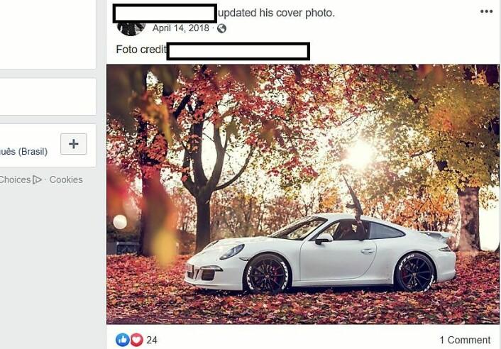 � Bildet er tatt i Albania. Men utover det kan jeg bare si at bildet er tatt i forbindelse med actiondokumentarfilmen jeg er med i, forklarer forretningsmannen. Bildet ble publisert på 37-åringens Facebook-side 18. april 2018. Nær et halvt år etter beslaget av en Kalashnikov-replika i den samme avbildede Porschen i Skovveien. Foto: Skjermdump fra Facebook