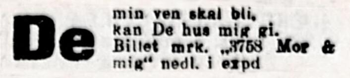 De min ven skal bli. Aftenposten, 1920
