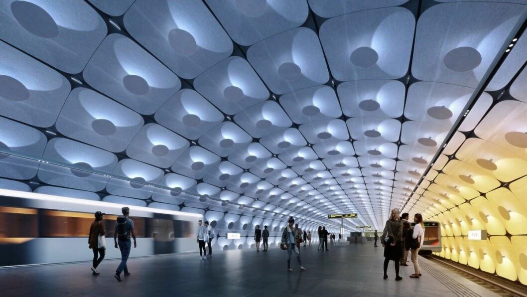Arkitektene Zaha Hadid Architects og A-lab slik de ser for seg Fornebuporten stasjon. Foto: Fornebubanen